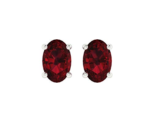 (Euforia Jewels 14K White Gold Top Quality Natural Garnet 6X4 MM Oval Cut Stud Earrings With Silver Sillicon Post For Women )