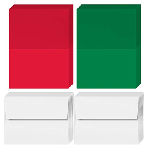 2020 Holiday Christmas Greeting Cards - 25 Red & 25 Green Blank Greeting Cards with 50 White Envelopes - Card Size 5x7 When Folded - Envelopes Size A7