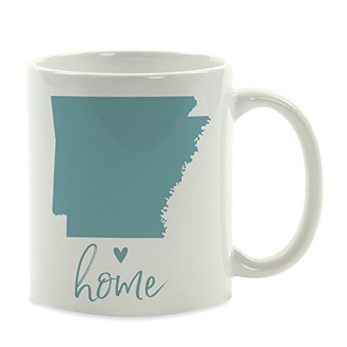 Andaz Press 11oz. US State Coffee Mug Gift, Aqua Home Heart, Arkansas, 1-Pack, Unique Hostess Distance Moving Away Christmas Birthday Gifts for Her