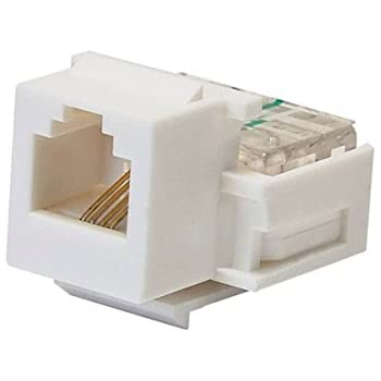 monoprice rj-11 toolless keystone jack, white (107288) (2 pack)