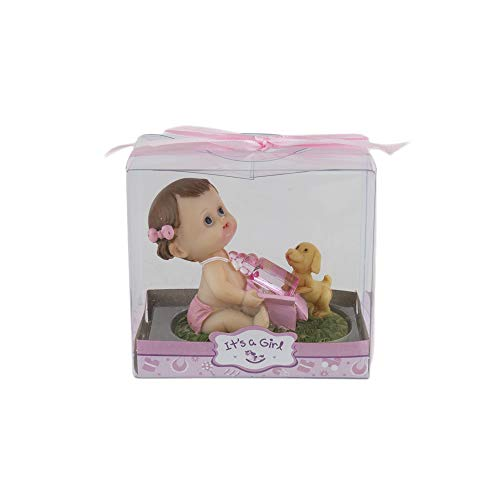 Mega Favors Keepsake Figurine 12 pcs Baby Girl Holding Bottle Next to Puppy | Awesome Decorations or Party Favors | for Pregnancy Announcements, Gender Reveals, Birthday and Special Celebrations