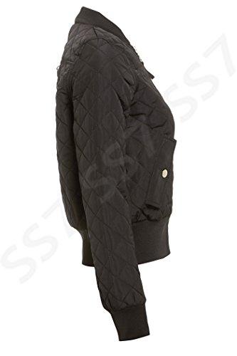 Pour Ss7 Noir Blouson 16 Rembourré Femmes Matelassé 8 Ma1 Tailles 0Hf0xzr