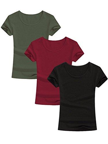 Amoretu 3-Pack Women's T-Shirts Short Sleeve Scoop Neck Cotton Tee Tops XXL
