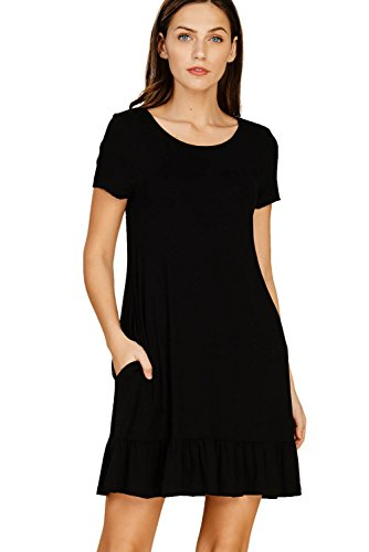 Annabelle Womens Comfy Short Sleeve Round Neck Ruffle Bottom Swing Mini Dresses with Pockets