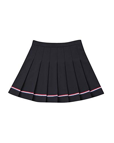 Liangzhu Femmes Mini Taille Haute Courte vase Jupes Basique Plisse Patineuse Jupe Noir