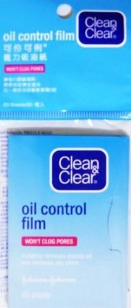 Clean & Clear Oil Control Film Blotting Paper, Oil-absorbing Sheets for Face, 60 Sheets (Pack of 2) ()