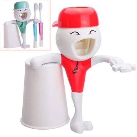 Plástico + manos libres de silicona dispensador de pasta de dientes automático Hercules altecweb arriesgadamente con soporte para cepillo/diente taza/taza ...