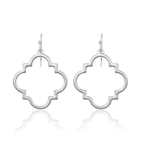 Pomina Small Quatrefoil Drop Earrings (Worn Silver)