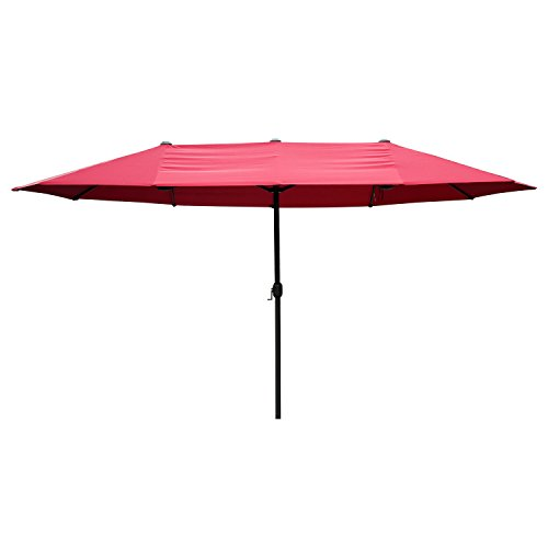 Outsunny 9' Outdoor Patio Umbrella with Twin Canopy Sunshade - Wine Red