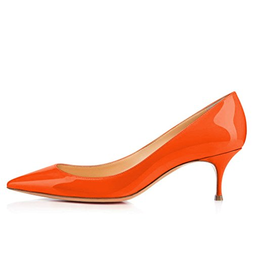 Size Office Orange Dress 4 Classic Pumps Shoes Ladies FSJ Pointy Heels Kitten Toe 15 US Women 0pBqfgP