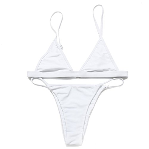 RELTANGL Women's Bikini Halter Top Tie Side Bottom Swimwear Bikini Set, White, Small, 2 Piece
