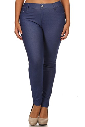 ICONOFLASH Women's Cotton Blend Pull-on Color Jeggings (Dark Blue, 3XL)