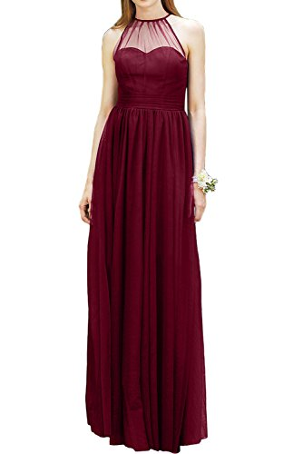 DressyMe Women's Chiffon Long Bridesmaid Dresses Halter Sleeveless Party Gown-4-Burgundy