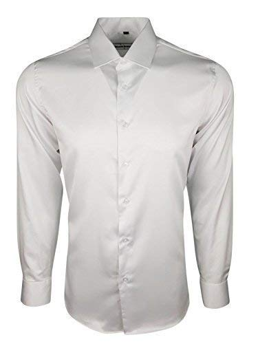 Dominic Stefano 422 Stile Casual Camicia da Uomo in Raso e Seta Lucida