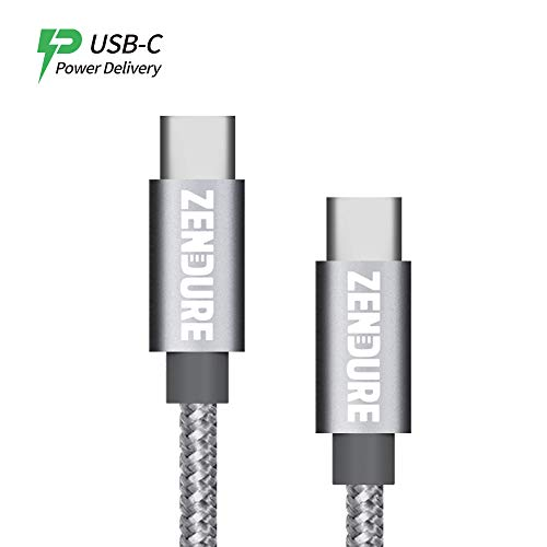 USB-C to USB-C 2.0 Cable, Zendure 20 Inch Nylon Braided USB Type-C Data Transfer & Charge PD Cable, Compatible Galaxy S9, S9+, S8, Google Pixel, Nexus 6P, MacBook and Nintendo Switch