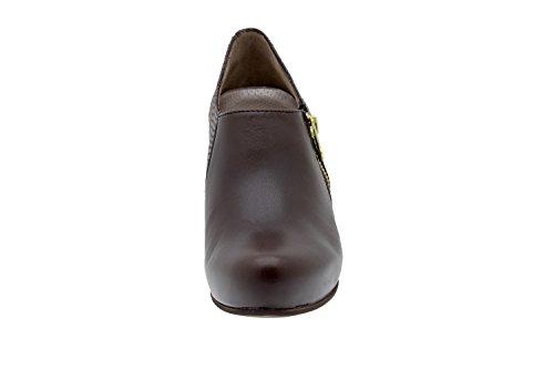 Calzado mujer confort de piel con plantilla Piesanto 5233 abotinado zapato vestir cómodo ancho Caoba