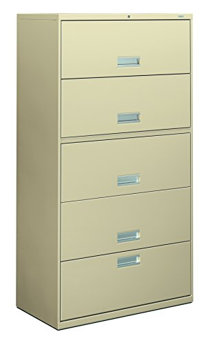 HON 655LL 600 Series 36-Inch Lateral File with 1 Drawer/4 Receding Door Roll-Out Shelves, Putty
