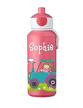 Mein Zwergenland Trinkflasche Mepal Campus Pop-up mit Namen Rose Bienen
