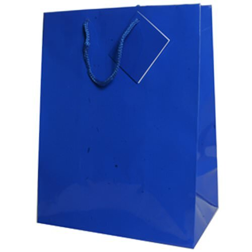 JAM Paper® Glossy Gift Bags with Rope Handles - Large - 10 x 5 x 13 - Blue - 100/pack