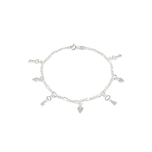 Italian Sterling Silver Figaro Chain Bracelet with 4 Keys and 3 Hearts Charm, Bracelet Length of 177.8MM