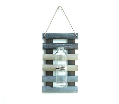 Isa Glass Vase Wall-Mounted Plant Hydroponic Container Vintage Wooden Board Pendant Balcony Pendant,Mixedcolor