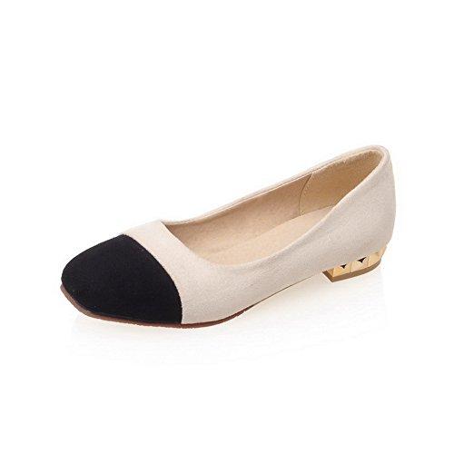 Amoonyfashion Womens Laag Hakken Frosted Geassorteerde Kleur Pull-on Vierkante Gesloten Teen Pumps-schoenen Beige