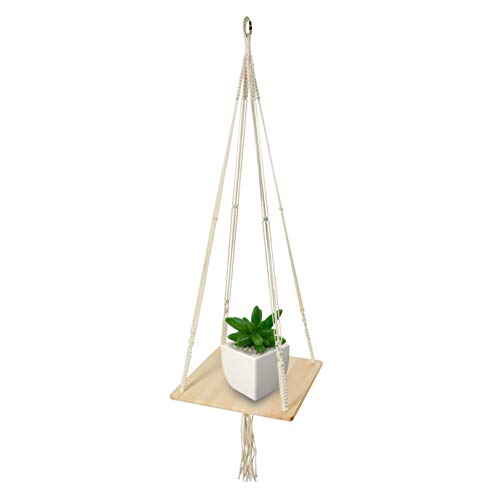 Macrame Shelf Planter Hanger for Indoor Plants with Wooden Shelf, Bohemian Hanging Plant Stand and Decor for Modern Homes, 45 Inches, by California Home Goods (California Classic Concepts Furniture)