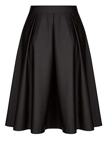 Amormio Women's Vintage High Waisted A-Line Pleated Skater Midi Flared Full Skirt