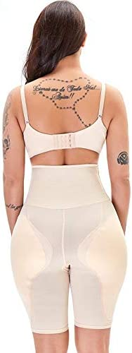 High Waisted Waist Trainer Shapewear Body Tummy Shaper Fake Ass Butt Lifter Booties Hip Pads Enhancer Booty Lifter Thigh Trimmer Color : Beige, Size : 3X-Large