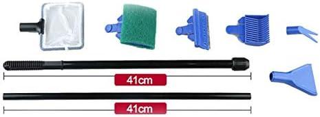 Sairis Aquarium Cleaner 5 In 1 Clean Set Fish Net Gravel Rake Algae Scraper Grass Fork Sponge Brush Glass Fish Tank Cleaner Tool blue