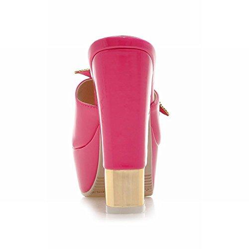 Latasa Kvinna Mode Blomma Öppen Tå Plattform Chunky Hög Klack Slip-on Klänning Sandaler Röd Ros