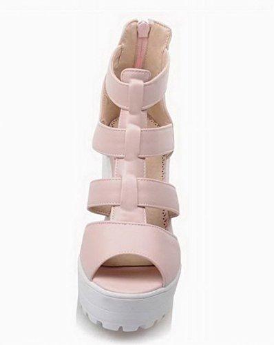 Unie Boucle Talon TSFLH006401 Cuir Femme PU Rose à Couleur AalarDom Haut Sandales 7STFfwqx
