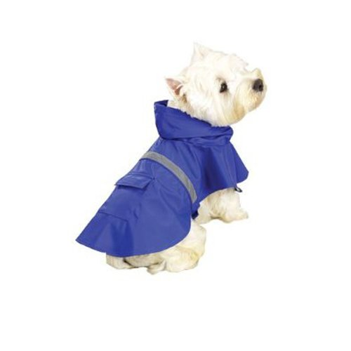 Guardian Gear Vinyl Dog Rain Jacket with Reflective Strip, Medium, Blue (Dog Gear Raincoat Rain)