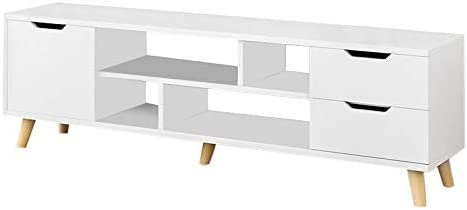 chenJBO Modern TV Stand for Living Room,Television Stands with 3 Cabinet Storage Multifunction Coffee Table,White