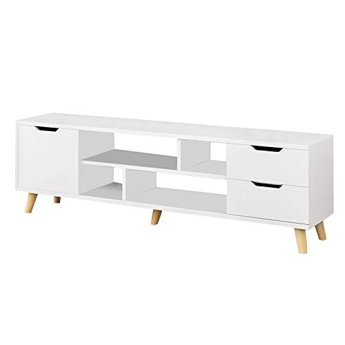 ASfairy Modern TV Stand with Three Cabinet, Classic Design Storage Console Free Standing Cabinet for TV up, Media Entertainment Center Home Living Room Furniture, TV Stand Cabinet
