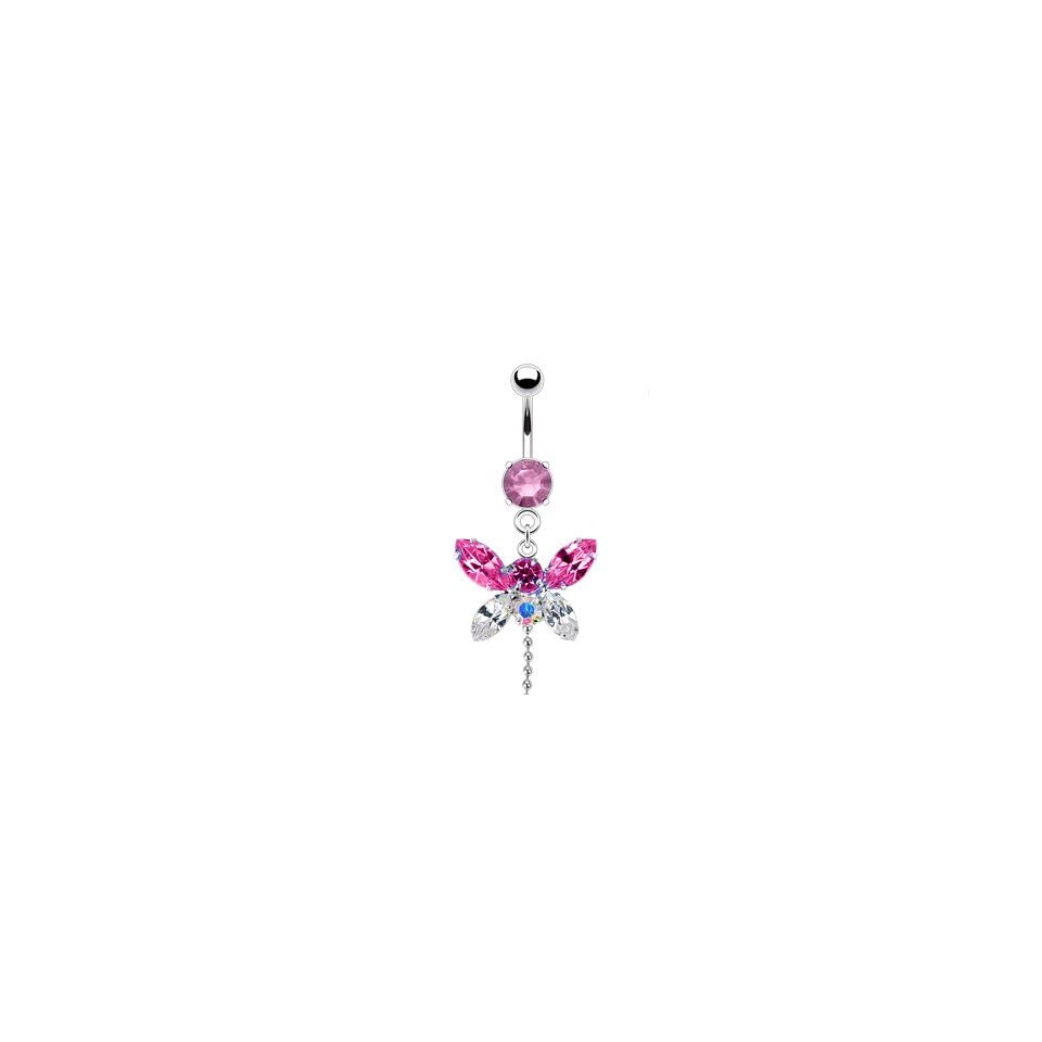 Pink Cubic Zirconia Butterfly Belly Ring W/Chain Dangle   14G   3/8 Bar Length   Sold Individually