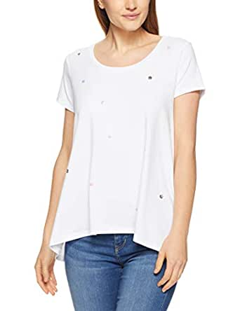 French Connection Women's Sequin SPOT Curved Hem TEE, Summer White/Multi, Extra Small