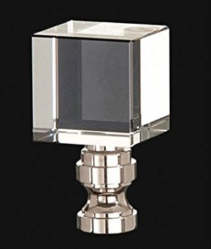 B&P Lamp Clear Cube Crystal Finial, 1 3/4 In Ht. 1/4-27 Tap by B&P Lamp