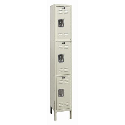 Hallowell U1258-3G-A-PT Galvanite Parchment Steel Rust Resistant Locker, 1 Wide with 3 Opening, Triple Tier, 12