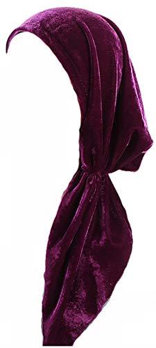 Ababalaya Women's Soft Luxury Velvet Pre-Tied Chemo Beanie Bandana Muslim Turban Tichel,Red+Purple by Ababalaya (Image #2)