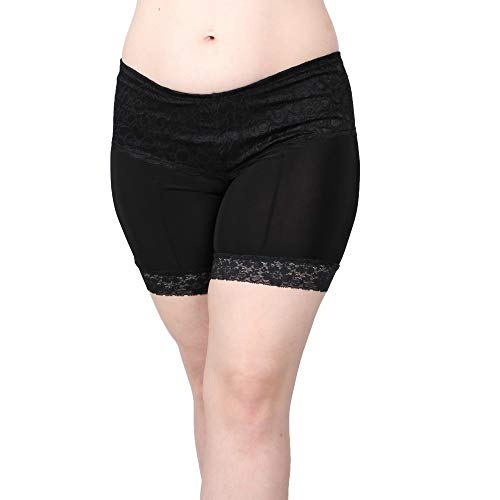 Undersummers High Thigh Lace Shortlette: Rash Guard Slip Shorts (2X, Black) (Slips With Lace Meant To Be Seen)