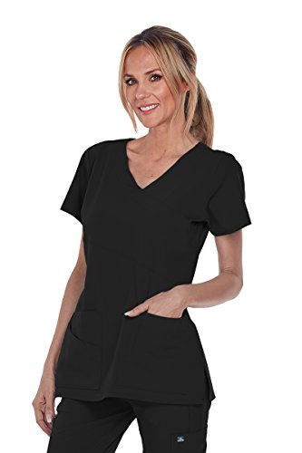 Barco Grey's Anatomy Signature 2130 Mock Wrap Top Black S (Wrap Top Signature Mock)