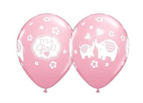 Its A Girl Elephants Qualatex 11 Inch Latex Balloons (Pink, 25 (Pink Safari Baby Shower Cake)