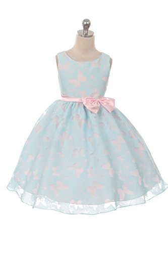 Girl's Pastel Butterfly Organza Overlay with Bow Special Occasion Dress Made in the USA - Size 2, - 2 Size Usa