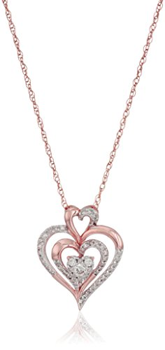 - 10k Rose Gold Diamond Heart Pendant Necklace (1/4cttw, I-J Color, I2-I3 Clarity), 18