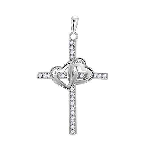 Jawa Jewelers Sterling Silver Womens Round Cubic Zirconia CZ Double Heart Cross Religious Fashion Charm Pendant