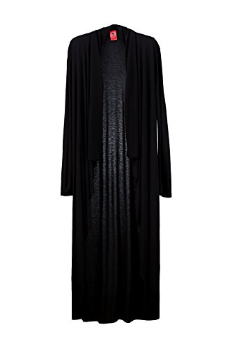 ByTheR Men's Trendy Solid Black Extra Long Lasting Button-less Open Cardigan Black