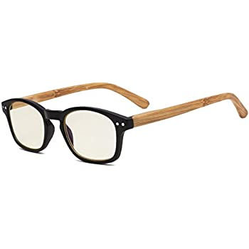 fd2187a3c452 Eyekepper Bamboo-Look Temples UV Protection Reading Glasses,Anti-Reflective  Readers (Black Frame, Yellow Tinted Lenses) +1.5