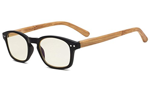 Eyekepper Bamboo-look Temples UV Protection Eyeglasses,Anti-reflective Readers (Black Frame, Yellow Tinted Lenses)