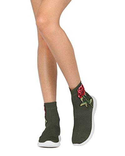 Alrisco Dames Stretch Gebreide Geborduurde Bloemen Applique Sneaker Bootie - Casual Chic Trendy Fashion Hoge Top - He78 Liliana Collectie Olive Mix Media